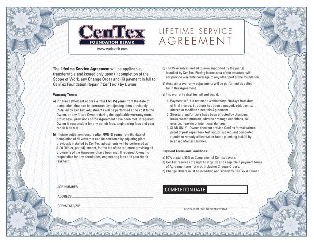 Lifetime Service Agreement